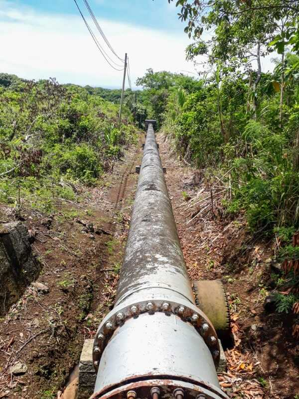 huge water pipes on the way to Exil Waterfall